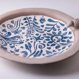 Keraminis dubenėlis su ornamentais ir paukštuku