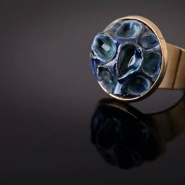 Žalvarinis žiedas Mėlyni koriai