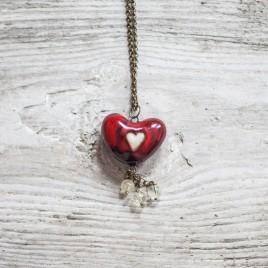 Raudonas širdies formos pomanderis