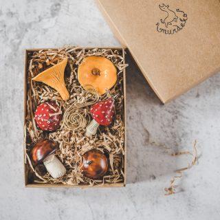 Rankų darbo kalėdiniai grybai eglutei. Žaisliukų rinkinys supakuotas dovanų dėžutėje. Pagaminta Murdeko keramikos studijoje.