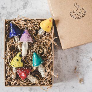Rankų darbo kalėdiniai ryškiaspalviai grybai eglutei. Žaisliukų rinkinys supakuotas dovanų dėžutėje. Pagaminta Murdeko keramikos studijoje.
