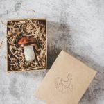 Rankų darbo Kalėdų eglutės žaisliukas - kalėdinis baravykas. Dekoracija supakuota dovanų dėžutėje. Pagaminta Murdeko keramikos studijoje.